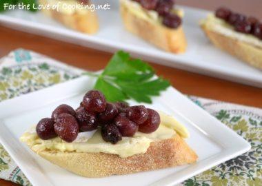 Roasted Grape and Brie Crostini