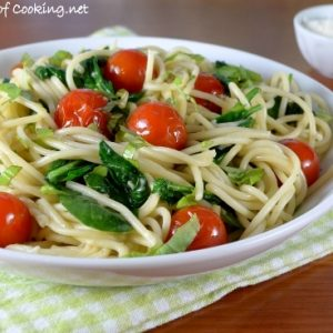 Spaghetti with Cherry Tomatoes, Spinach, Basil, and Parmesan