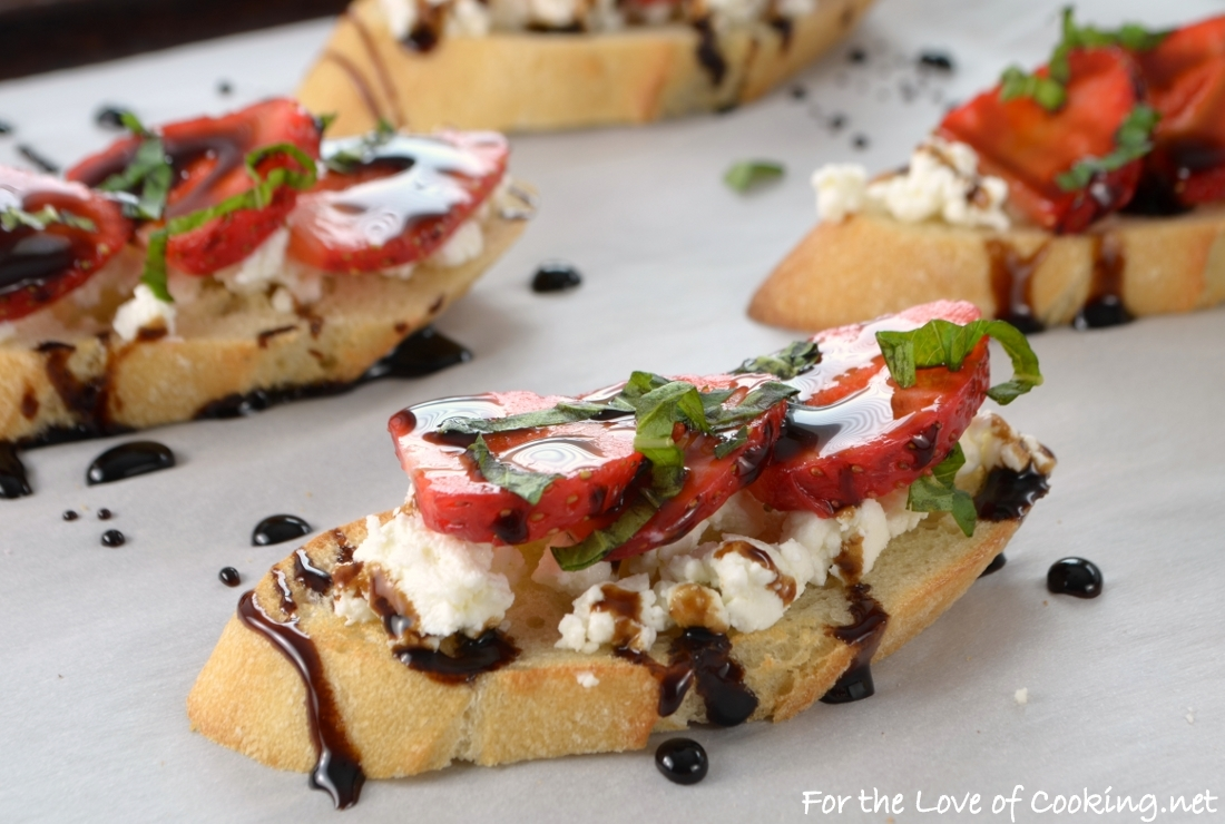 Strawberry and Goat Cheese Bruschetta with Balsamic Glaze and Fresh Basil