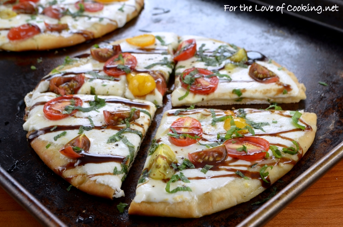 Caprese Flatbread Pizza With Balsamic Glaze For The Love Of Cooking