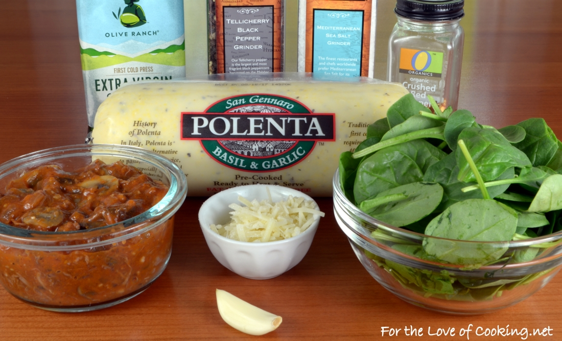 Crisp Polenta Topped with Sautéed Spinach and Slow-Simmered Mushroom & Meat Sauce