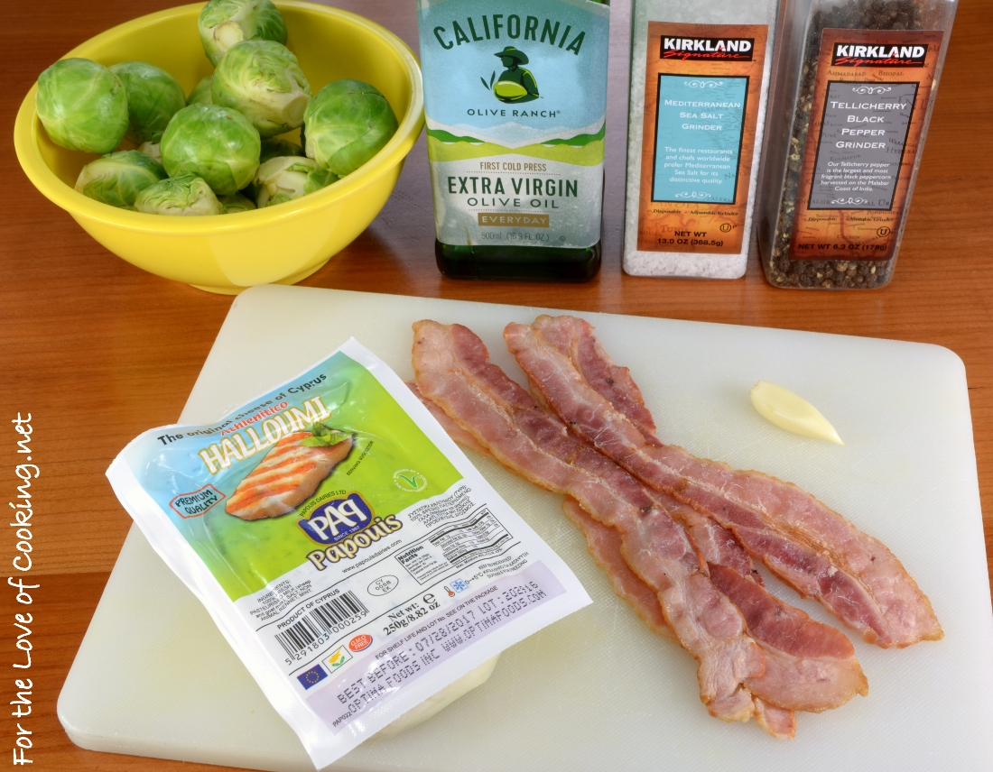 Roasted Brussels Sprouts with Bacon and Halloumi