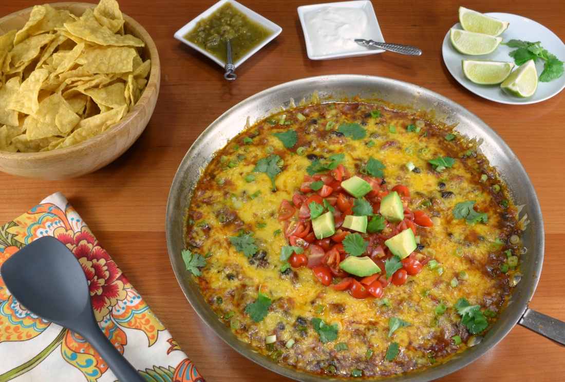 Beef and Bean Skillet Nacho Dip