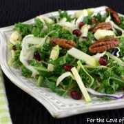 Shaved Kale and Brussels Sprout Salad with Pomegranate, Apple, Sharp Cheddar, Sugared Pecans and White Balsamic Vinaigrette
