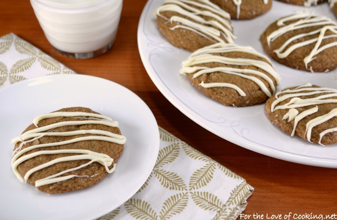 Soft Gingersnap Cookies with White Chocolate Drizzle