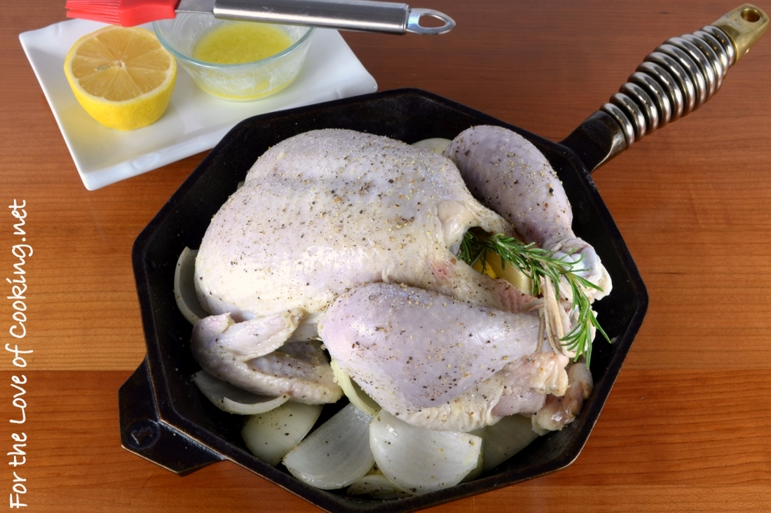 Garlic Butter Basted Roasted Chicken with Rosemary and Lemon
