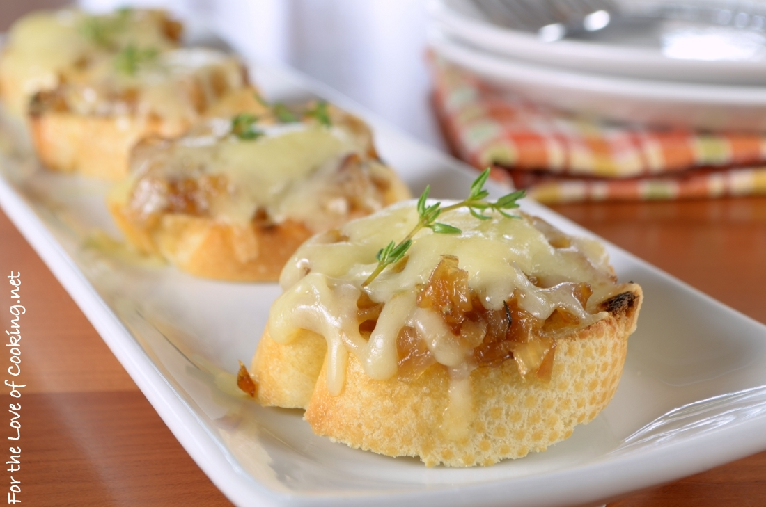 French Onion Crostini | For the Love of Cooking