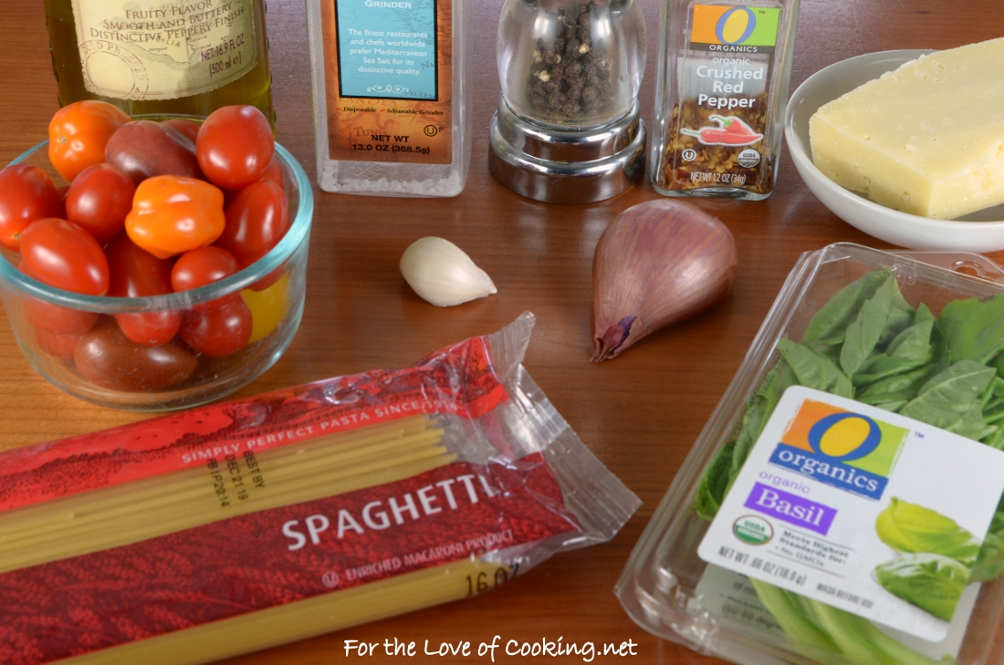 Spaghetti with Spicy Roasted Grape Tomatoes, Shallots, and Garlic