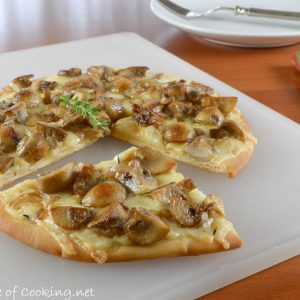 Mushroom, Shallot, and Gruyere Flatbread Pizza