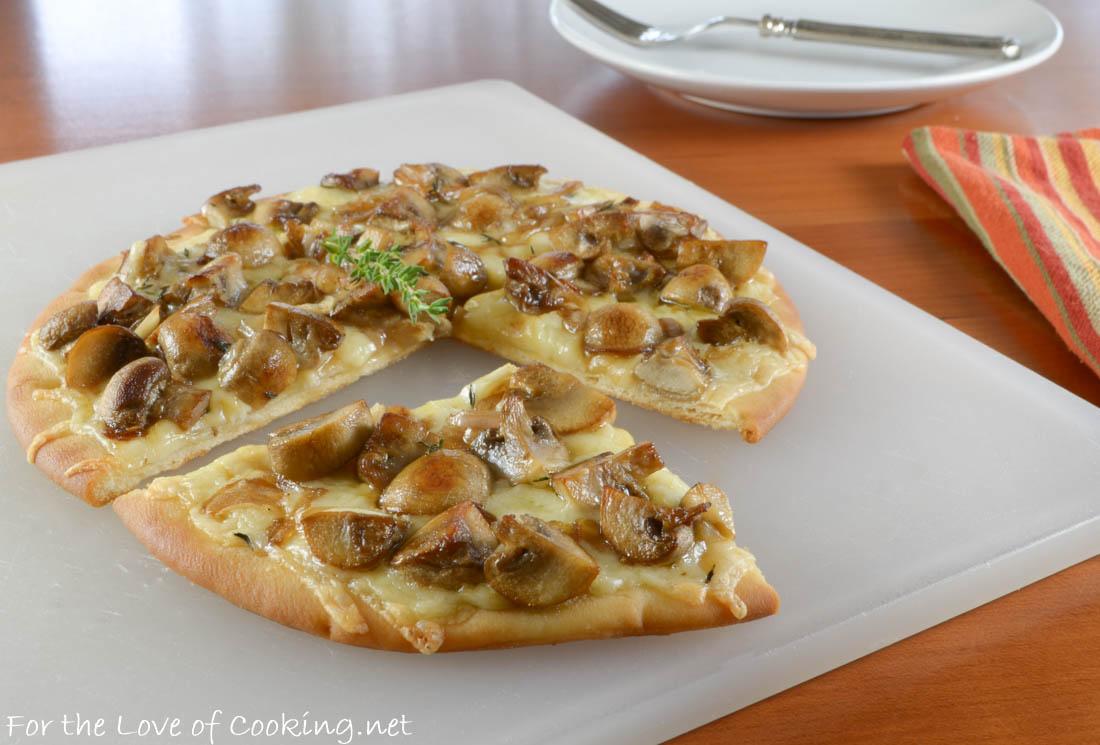 Mushroom, Shallot, and Gruyere Flatbread Pizza