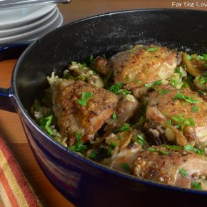 Chicken Thighs with Rice, Mushrooms, and Broccoli