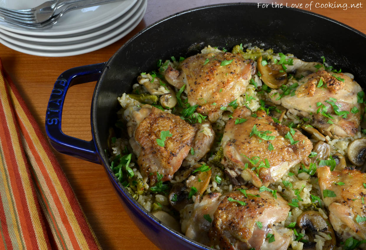 Chicken thighs with rice mushrooms and broccoli for the love of chicken thighs with rice mushrooms and broccoli forumfinder Images