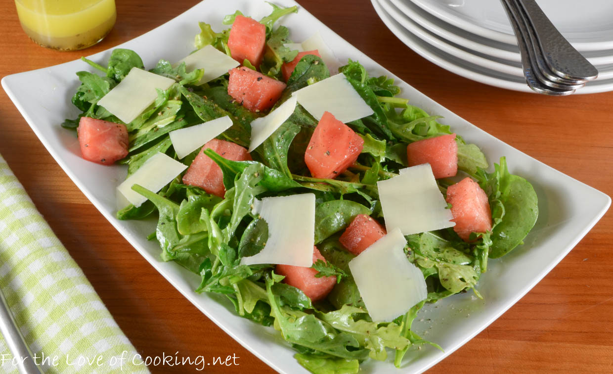 Watermelon, Arugula, and Spinach Salad with Shaved Parmesan