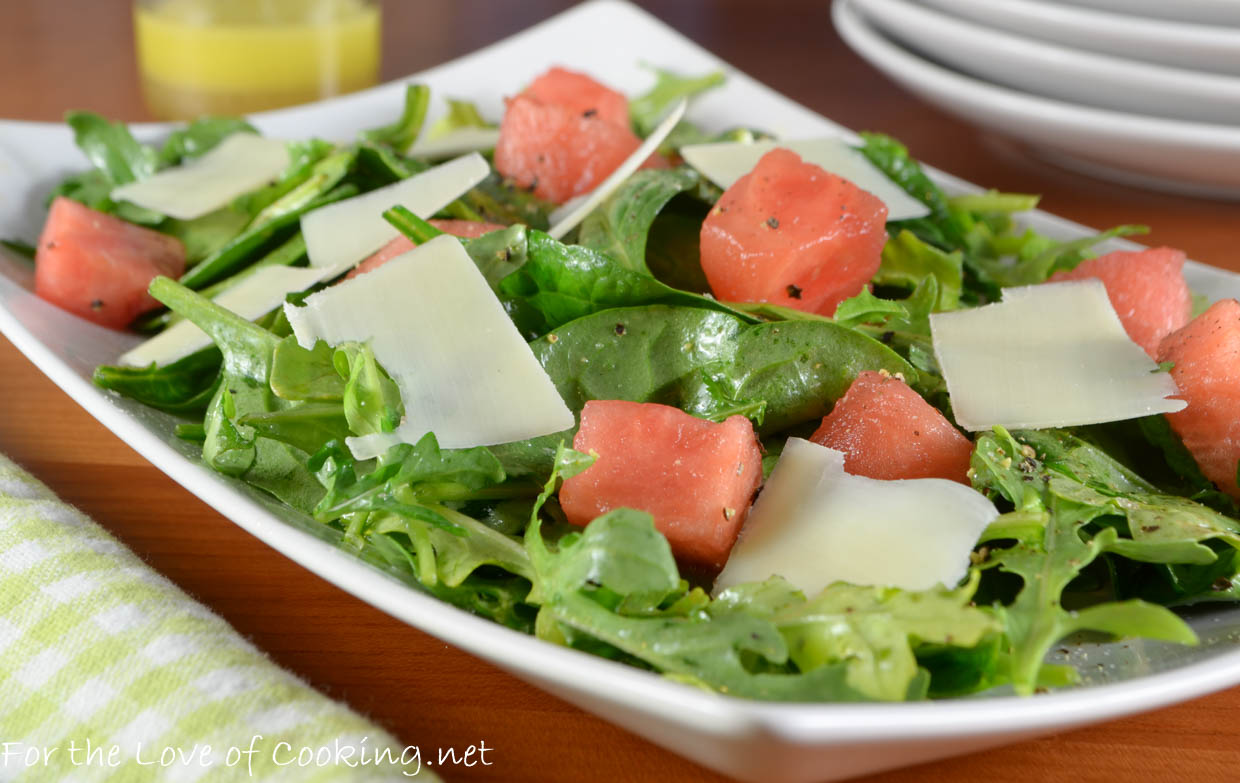 Watermelon, Arugula, and Spinach Salad with Shaved ...