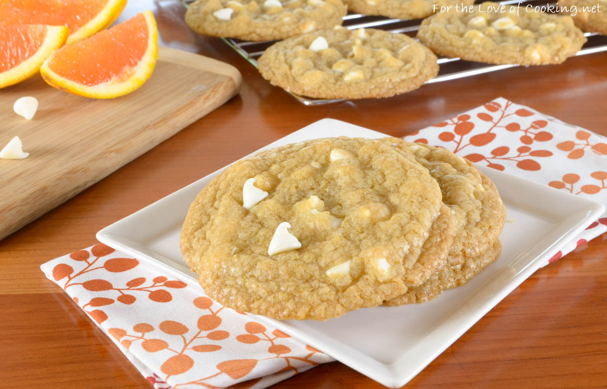 White Chocolate Chip Orange Cookies | For the Love of Cooking