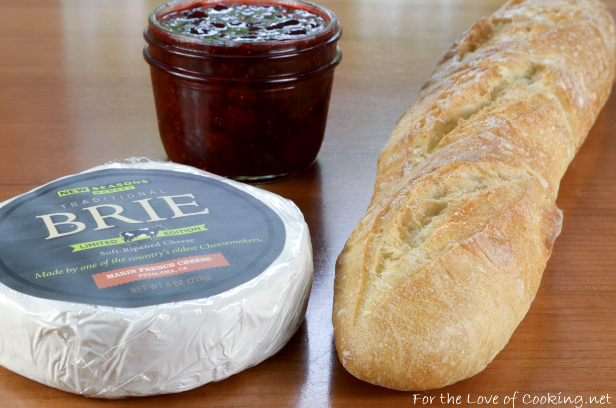 Baked Brie with Strawberry Jalapeno Jam