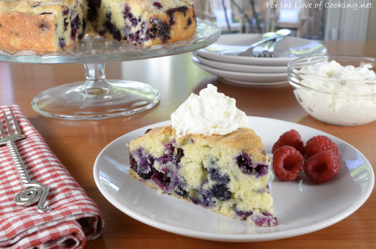 Blueberry Vanilla Bean Cake with Lemon Whipped Cream