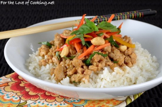 Thai Basil Chicken Rice Bowl with Lemongrass Coconut Rice