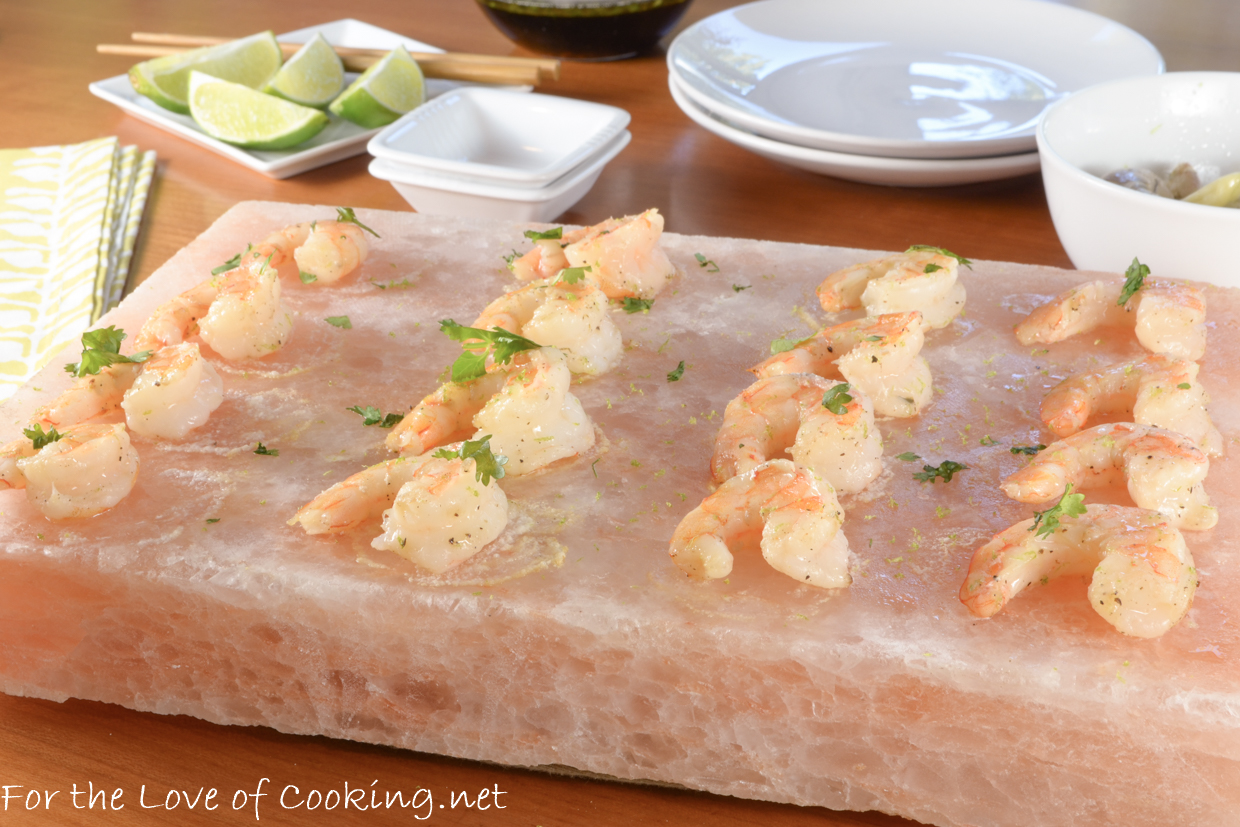 Garlic-Lime Shrimp Cooked on a Himalayan Salt Plate