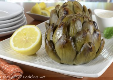 Whole Roasted Artichokes with Lemon-Garlic Aioli