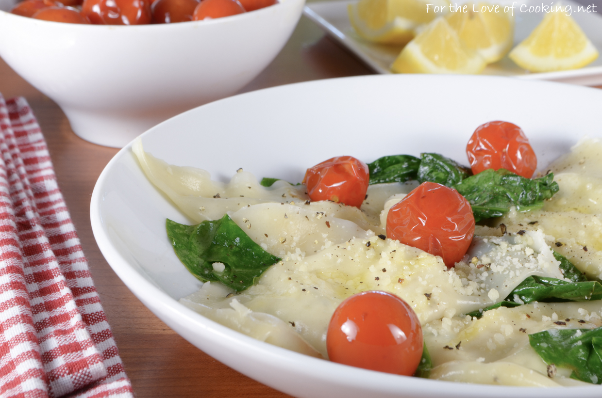 Basil-Ricotta Ravioli with Spinach and Blistered Tomatoes ...