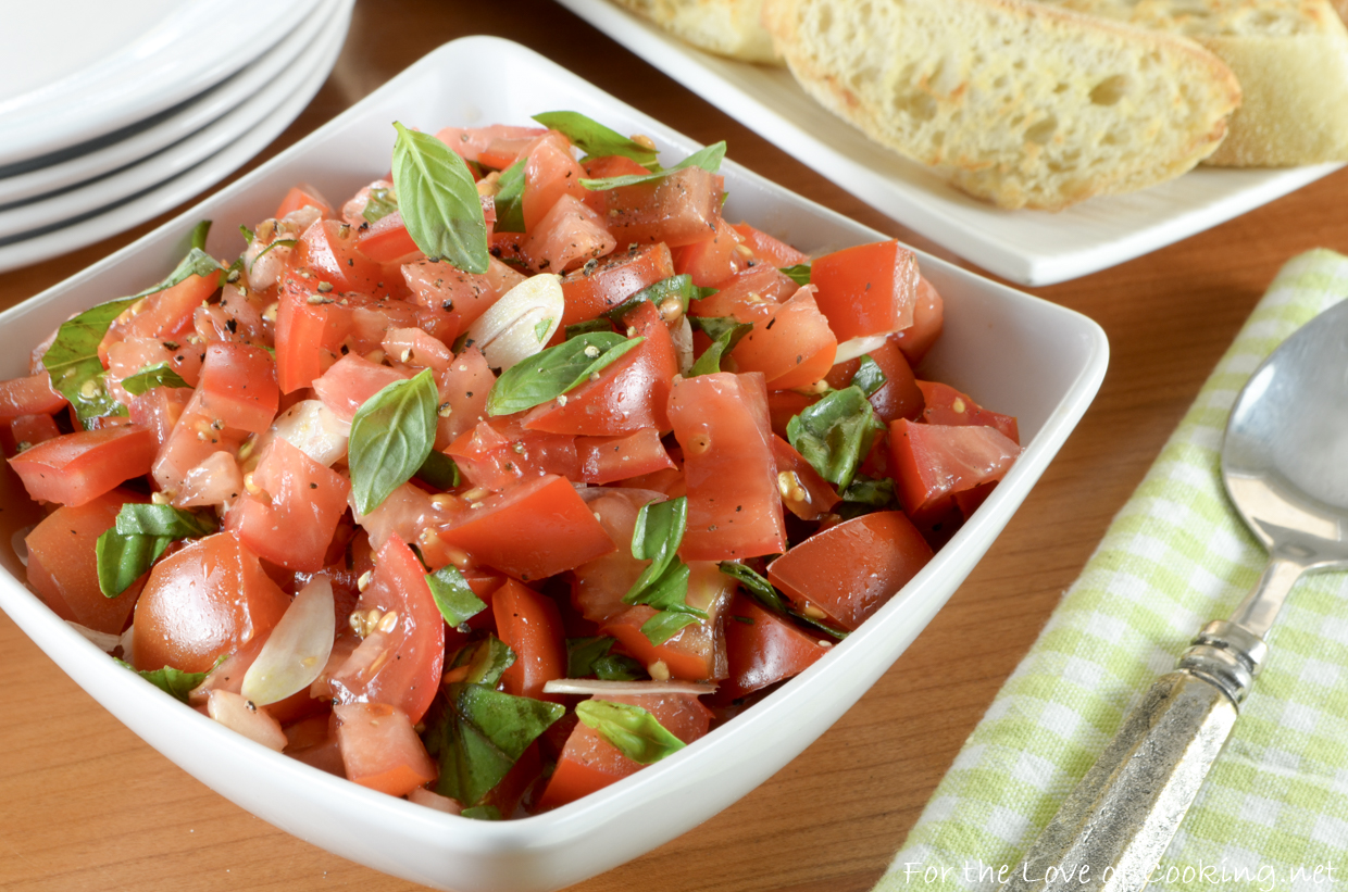 Fresh Tomato Basil Salad with Garlic Crostini