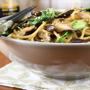 Bok Choy, Shitake, and Garlic Noodles