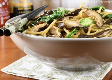 Bok Choy, Shiitake, and Garlic Noodles