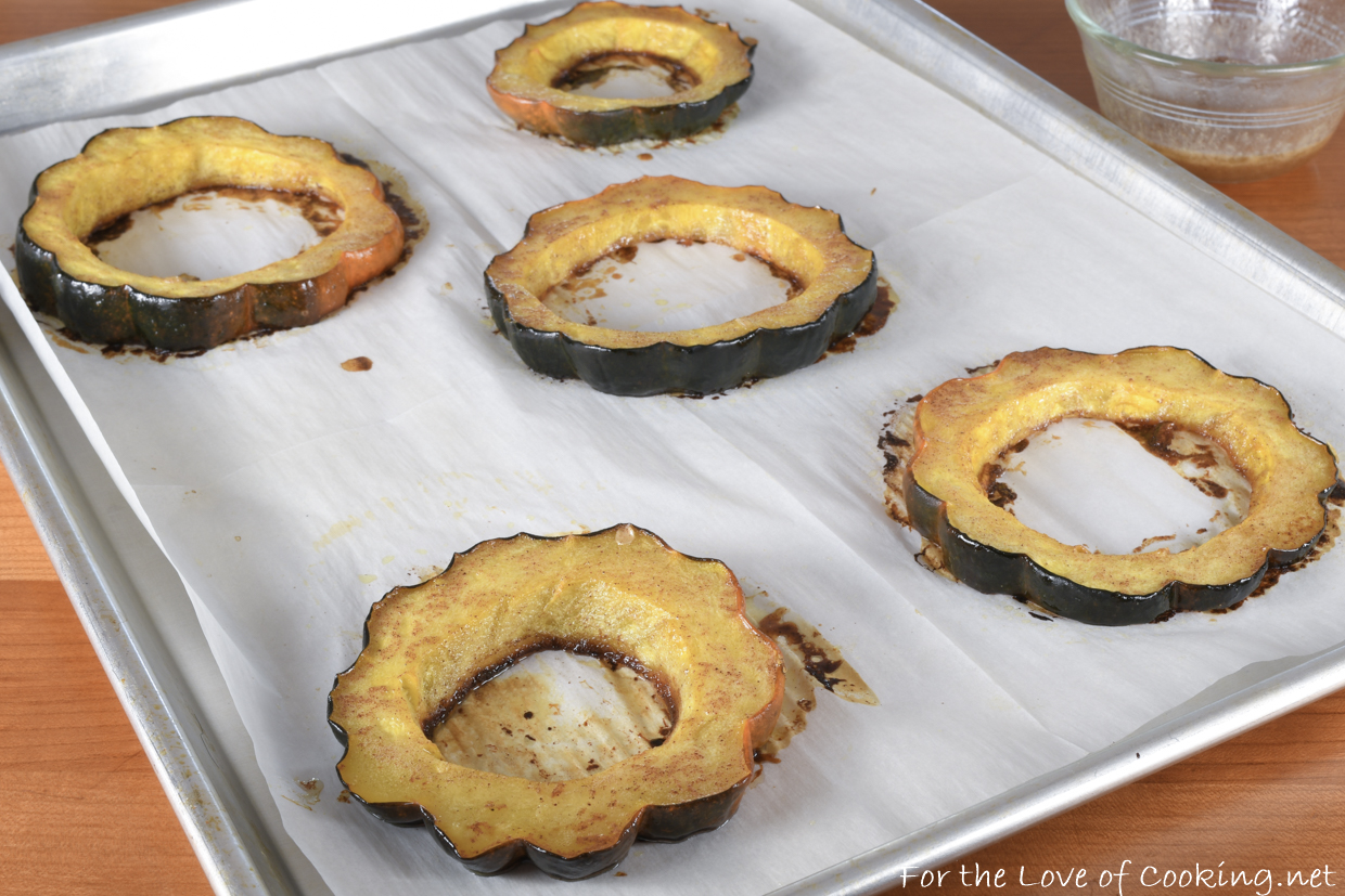 Cinnamon Honey Butter Roasted Acorn Squash Rings