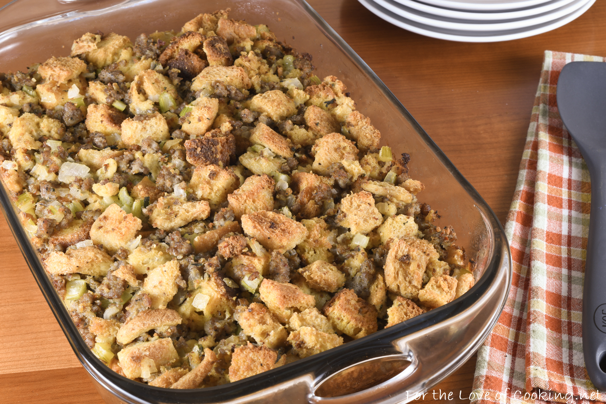 Stuffing with Sausage and Cornbread | For the Love of Cooking