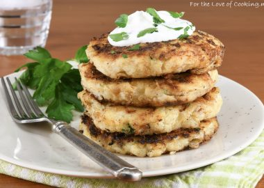 Mashed Potato Pancakes with Caramelized Onion and Gruyere