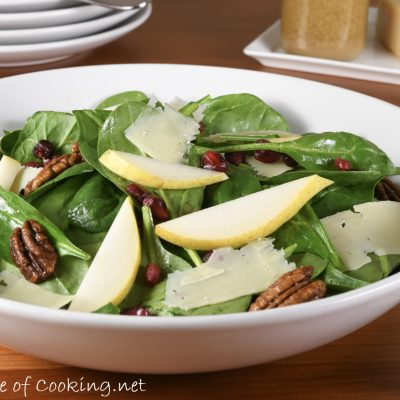 Spinach, Pear, and Pomegranate Salad with Candied Pecans and Shaved Parmesan