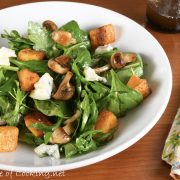 Warm Salad of Mushrooms and Roasted Butternut Squash with Arugula and Gorgonzola