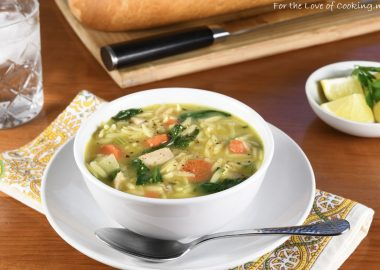 Lemon Chicken Orzo Soup with Spinach
