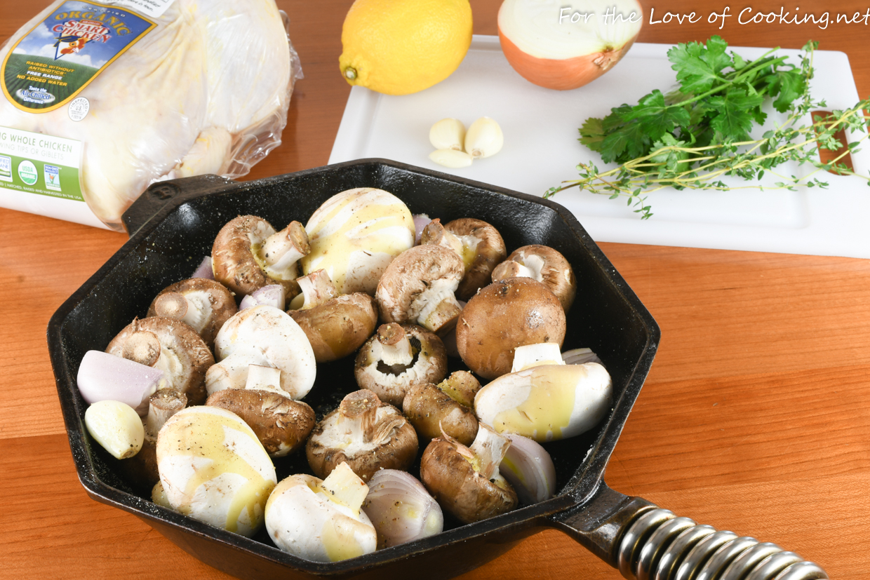 Skillet Roasted Chicken with Mushrooms