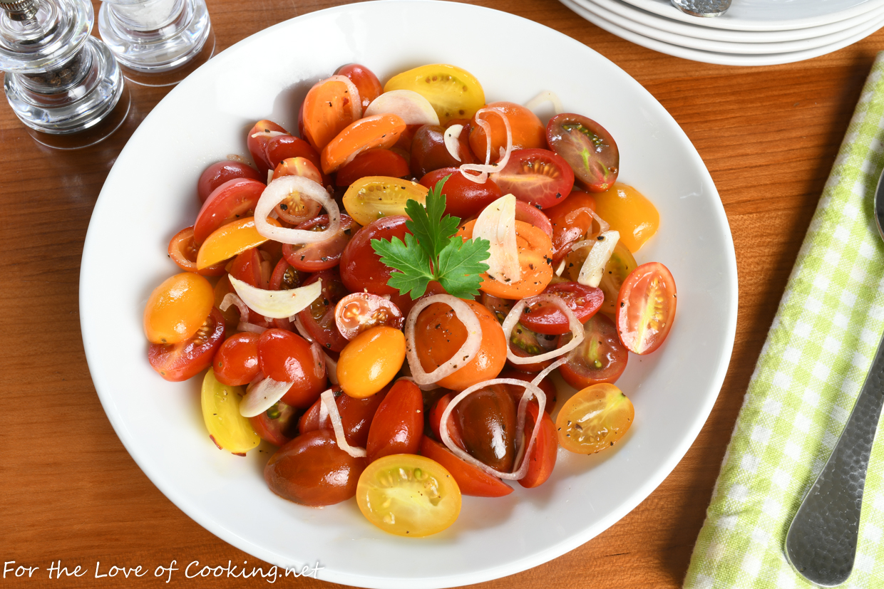 Marinated Grape Tomatoes with Shallot and Garlic