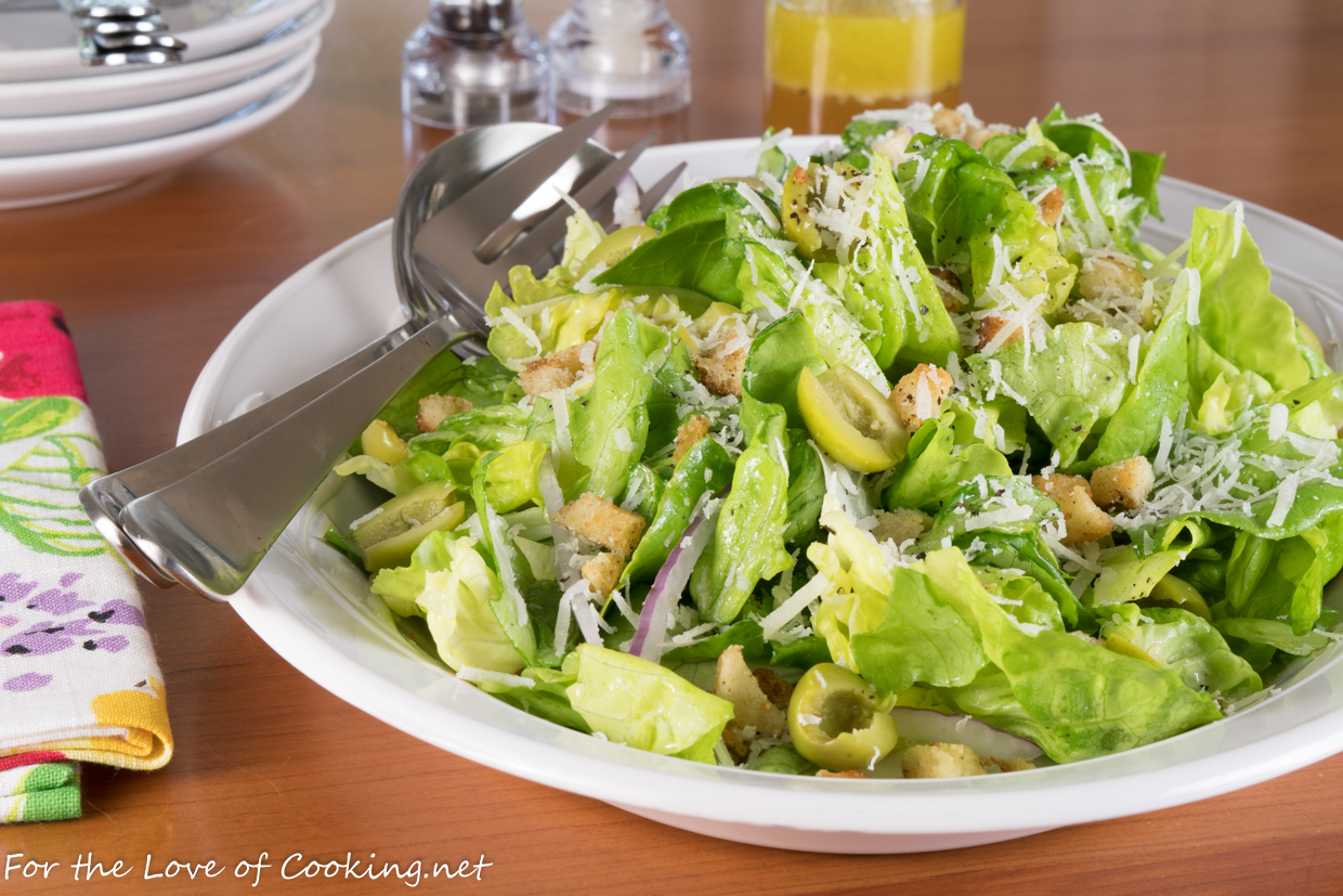 Butter Lettuce Salad with Castelvetrano Olives and Manchego