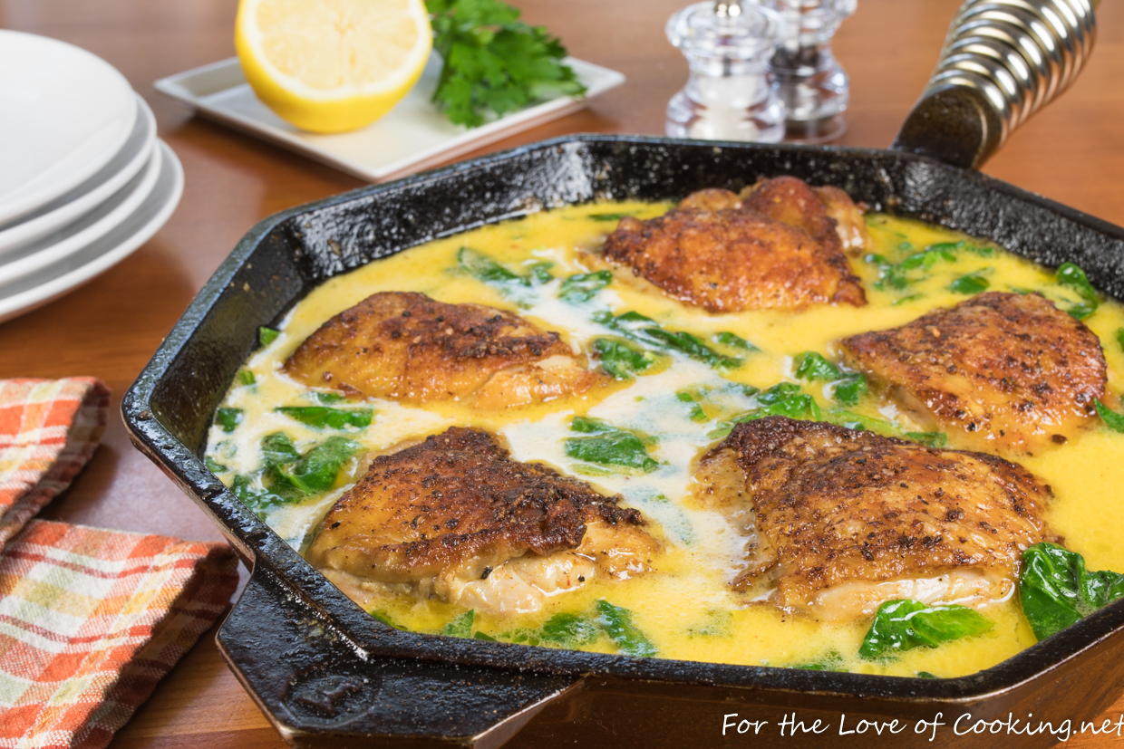Creamy lemon butter chicken thighs with spinach for the love of creamy lemon butter chicken thighs with spinach forumfinder Gallery