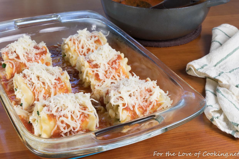 Mushroom and Spinach Lasagna Roll Ups