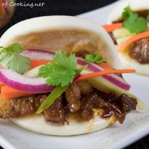 Steamed Bao with Glazed Pork Belly and Pickled Veggies