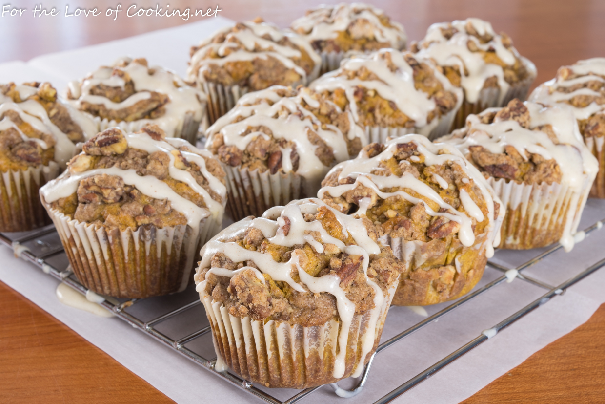 Brown Butter Pumpkin Streusel Muffins with Brown Butter Glaze