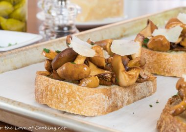 Buttery Chanterelle Mushrooms on Sourdough Toast with Shaved Parmesan