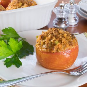 Cheddar-Chorizo Broccoli Rice in Tomato Bowls