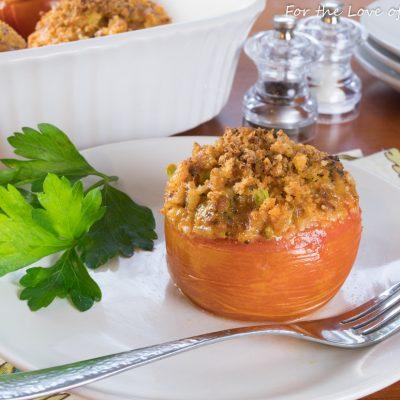 Cheddar-Chorizo Broccoli Rice in Tomato Bowls