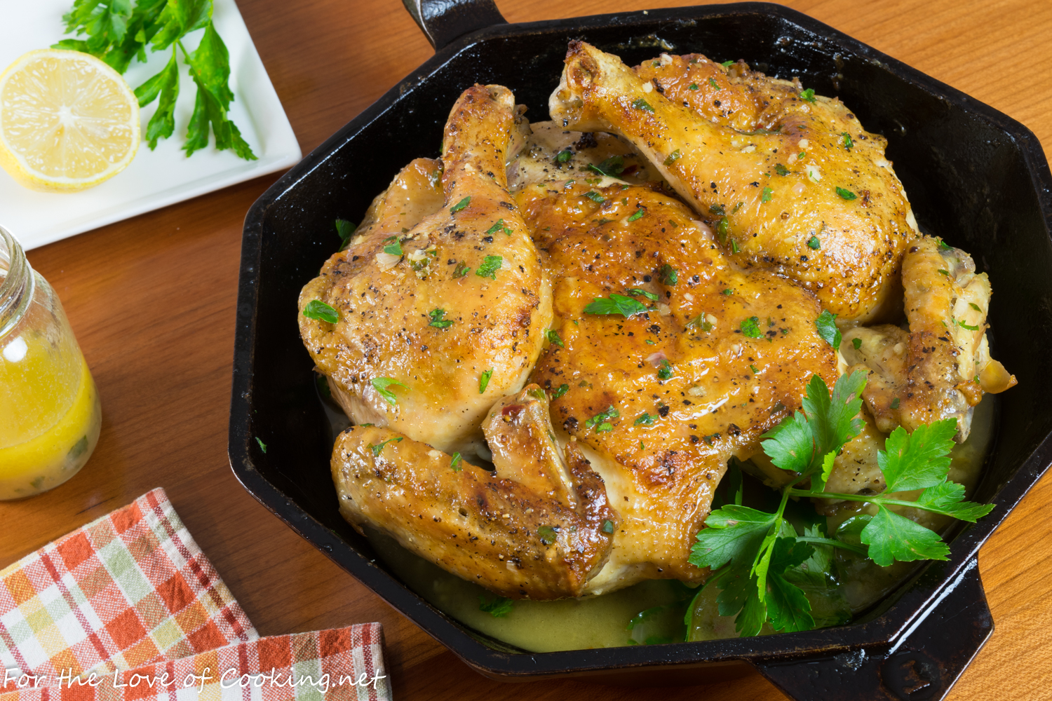 Roasted Spatchcocked Chicken with Lemon Wine Sauce