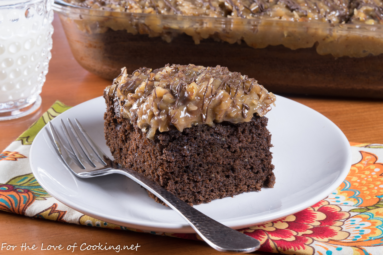 German Chocolate Snack Cake with Coconut-Pecan Frosting