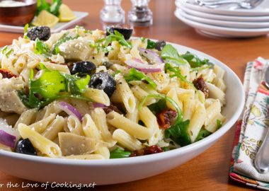 Pasta Salad with Artichoke Hearts, Sun-dried Tomatoes, Olives, and Arugula