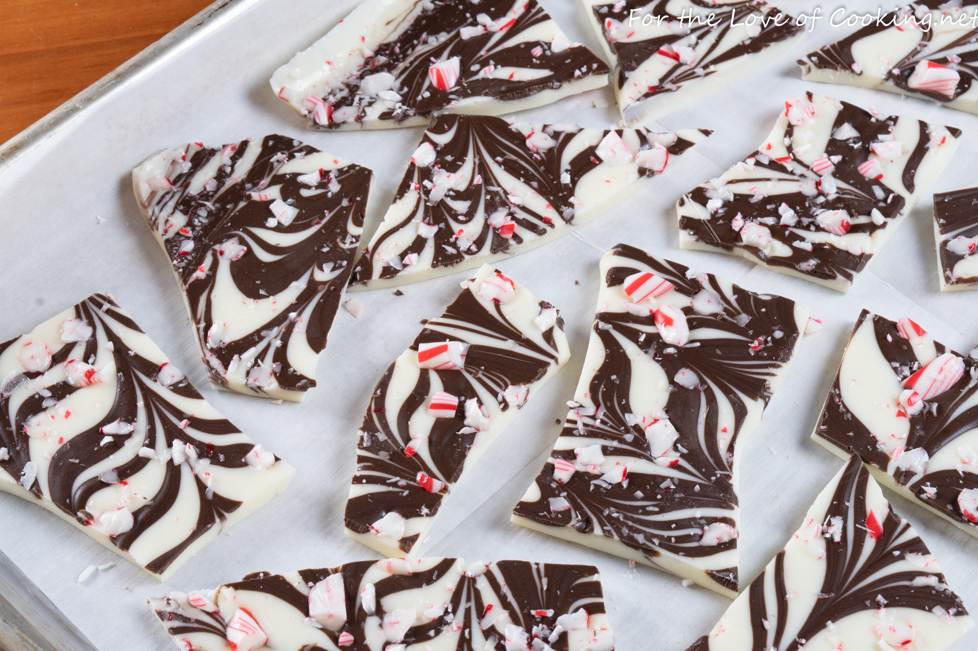 Swirled White Chocolate Peppermint Bark