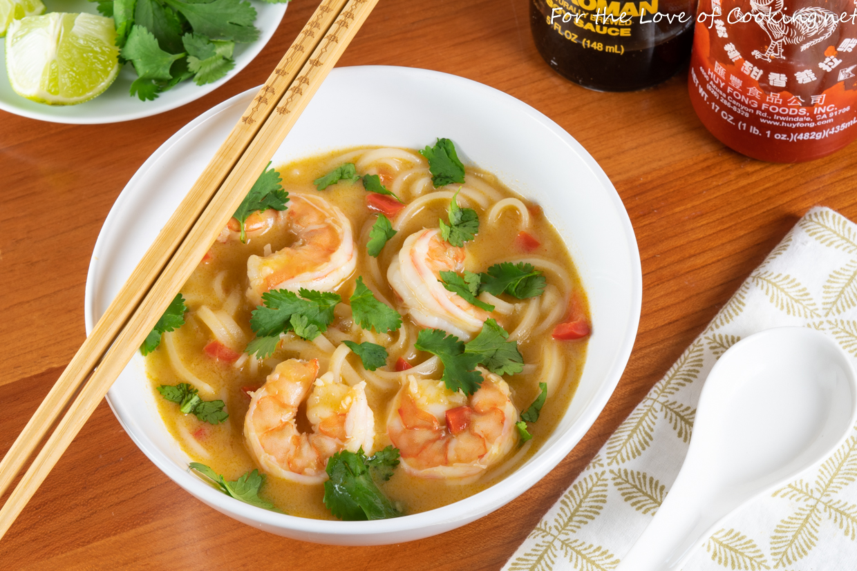 Thai Coconut Curry Shrimp Noodle Soup