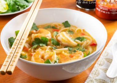 Thai Coconut Curry Shrimp Noodle Soup-